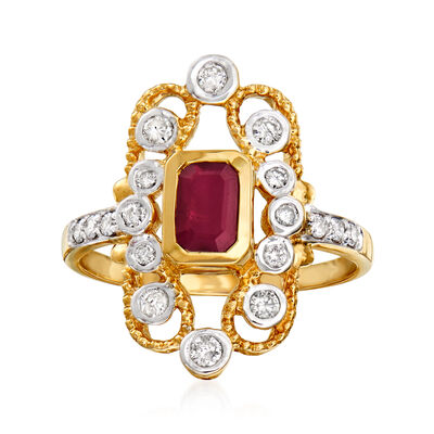.50 Carat Ruby and .38 ct. t.w. Diamond Ring in 14kt Yellow Gold