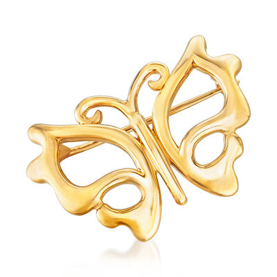 14kt Yellow Gold Cut-Out Butterfly Pin, , default