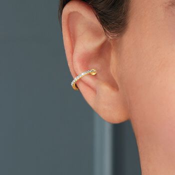 Diamond-Accented Single Ear Cuff in 14kt Yellow Gold, , default