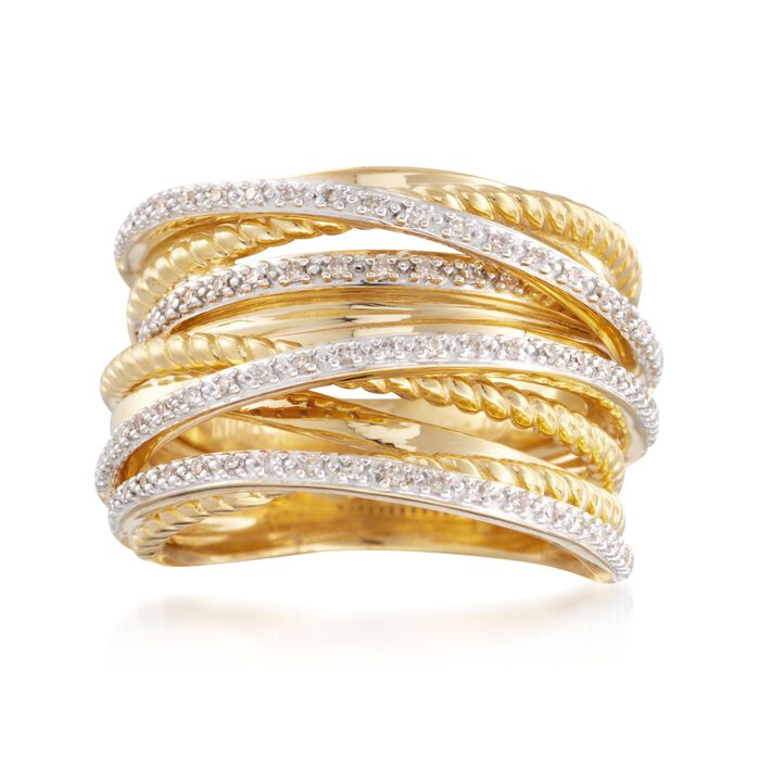 .25 ct. t.w. Diamond Highway Ring in 18kt Yellow Gold Over Sterling Silver, , default