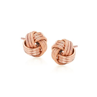14kt Rose Gold Textured and Polished Love Knot Stud Earrings, , default