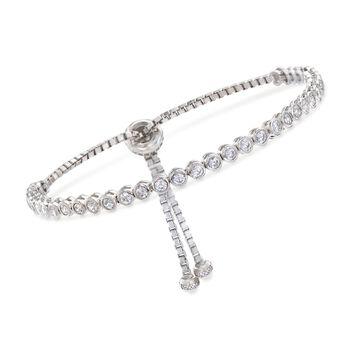 3.30 ct. t.w. Bezel-Set CZ Bolo Bracelet in Sterling Silver, , default
