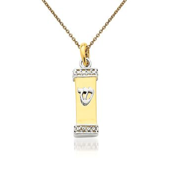 """14kt Two-Tone Gold Mezuzah Pendant Necklace. 18"""", , default"""
