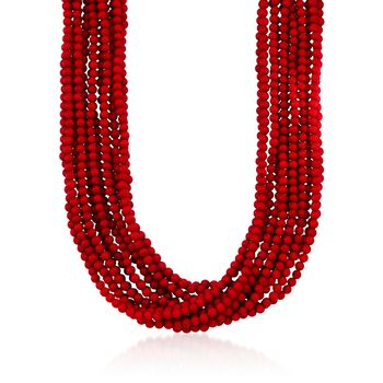 """Multi-Strand Red Coral Bead Necklace in 18kt Gold Over Sterling Silver . 17"""", , default"""