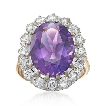 C. 1980 Vintage 7.50 Carat Amethyst and 1.45 ct. t.w. Diamond Ring in 14kt Yellow Gold. Size 6, , default