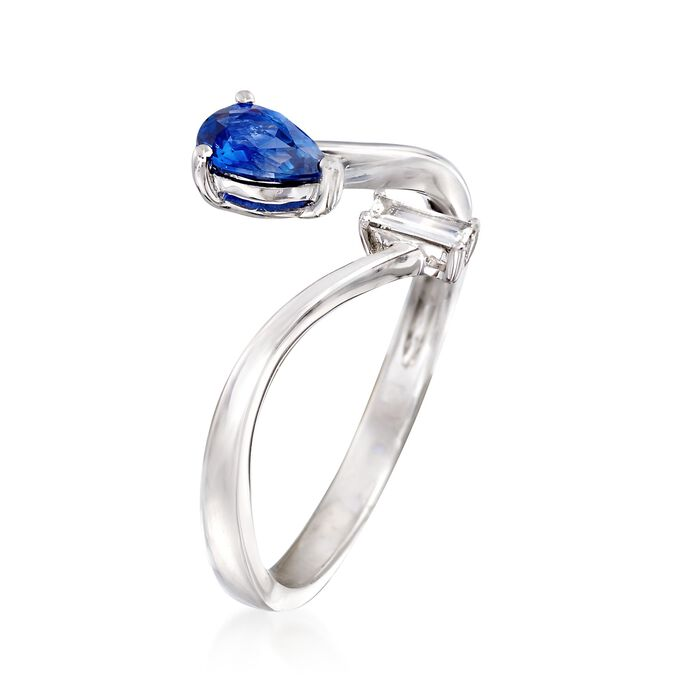 .40 Carat Sapphire Bypass Ring with Diamond Accent in 18kt White Gold