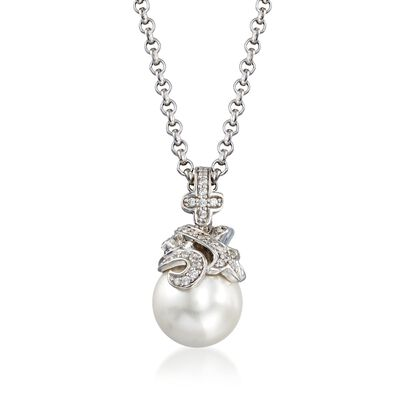 "Belle Etoile ""Fiona"" 12mm Simulated Pearl and .25 ct. t.w. CZ Pendant in Sterling Silver, , default"