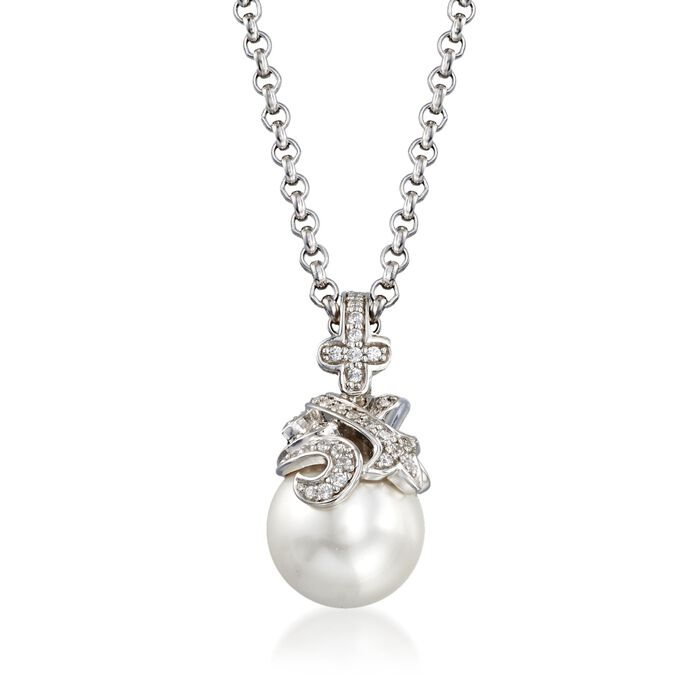 "Belle Etoile ""Fiona"" 12mm Simulated Pearl and .25 ct. t.w. CZ Pendant in Sterling Silver , , default"