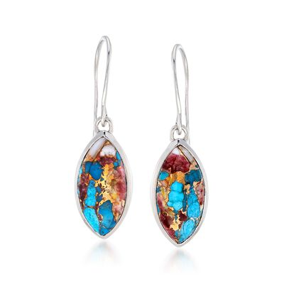 Marquise Kingman Turquoise Drop Earrings in Sterling Silver, , default