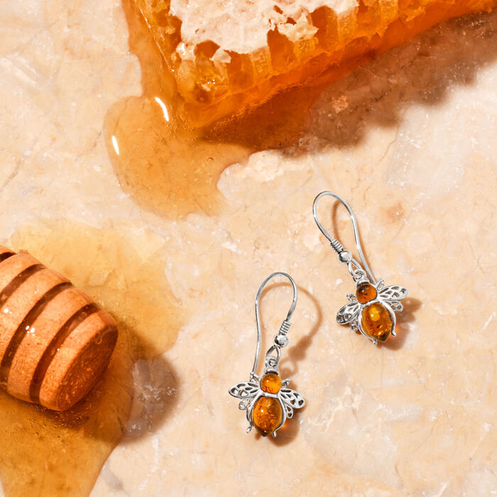 Amber Bumblebee Earrings in Sterling Silver