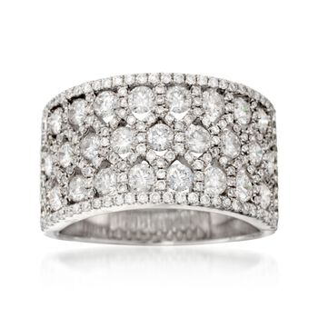 2.38 ct. t.w. Diamond Wide Patterned Ring in 18kt White Gold, , default