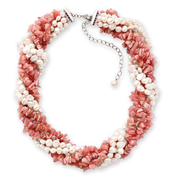"""5-6mm Cultured Pearl and 3-8mm Rhodochrosite Torsade Necklace in Sterling Silver. 18"""", , default"""