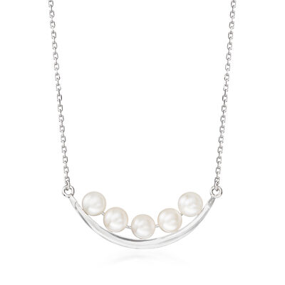 5.5-6mm Cultured Pearl Curved Bar Necklace in Sterling Silver, , default