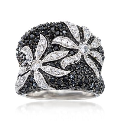 1.75 ct. t.w. Black and White CZ Flower Ring in Sterling Silver