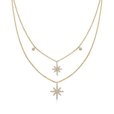 .47 ct. t.w. Diamond Star Layered Necklace in 18kt Yellow Gold