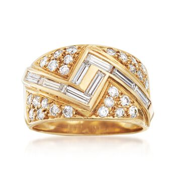C. 1980 Vintage 1.25 ct. t.w. Diamond Zigzag Ring in 18kt Yellow Gold. Size 6, , default