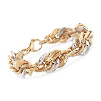 "Italian 14kt Two-Tone Gold Textured and Polished Link Bracelet. 8"", , default"
