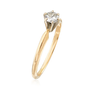 C. 1990 Vintage .25 Carat Diamond Solitaire Ring in 14kt Yellow Gold. Size 6.25, , default