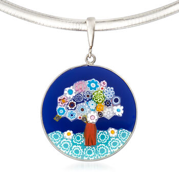 Murano Glass Tree of Life Pendant Necklace in Sterling Silver, , default