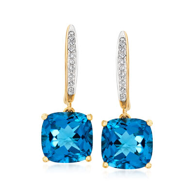 5.25 ct. t.w. London Blue Topaz Drop Earrings with Diamond Accents in 14kt Yellow Gold