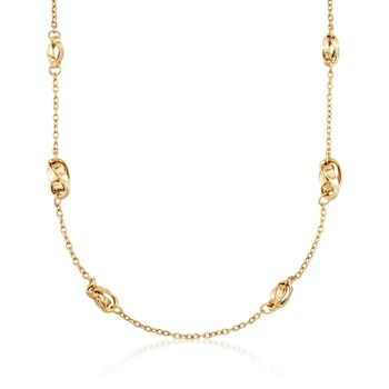 "Italian 14kt Yellow Gold Twist Link Station Necklace. 18"", , default"