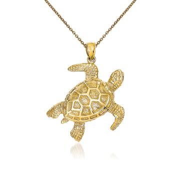 "14kt Yellow Gold Sea Turtle Pendant Necklace. 18"", , default"