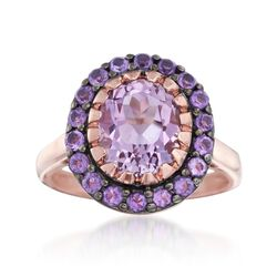3.20 ct. t.w. Pink and Purple Amethyst Ring in 14kt Rose Gold Over Sterling Silver, , default