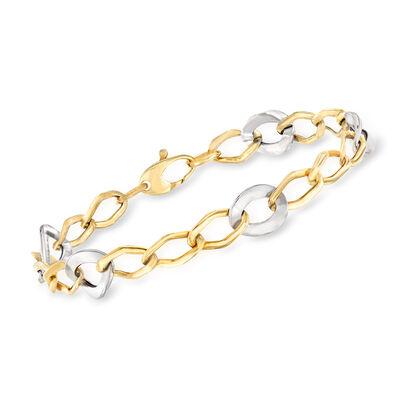 Italian 14kt Two-Tone Gold Link Bracelet  , , default