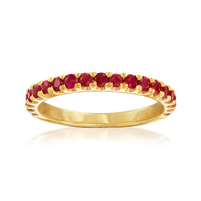 .70 ct. t.w. Ruby Ring in 18kt Gold Over Sterling, , default