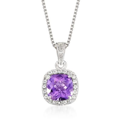.80 Carat Amethyst and .10 ct. t.w. White Topaz Pendant Necklace in Sterling Silver, , default
