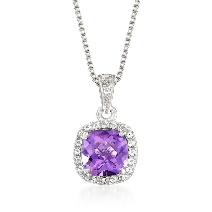 ".80 Carat Amethyst and .10 ct. t.w. White Topaz Pendant Necklace in Sterling Silver. 18"", , default"
