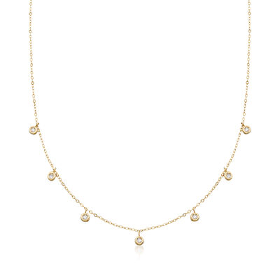 Italian .20 ct. t.w. Bezel-Set CZ Station Drop Necklace in 14kt Yellow Gold, , default