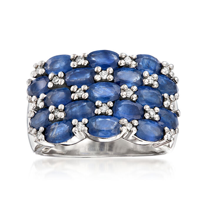 3.50 ct. t.w. Sapphire and .21 ct. t.w. Diamond Multi-Row Ring in Sterling Silver