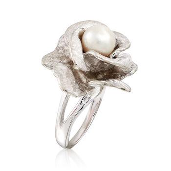 C. 1970 Vintage 7.5mm Cultured Pearl Rose Ring in 14kt White Gold. Size 6, , default