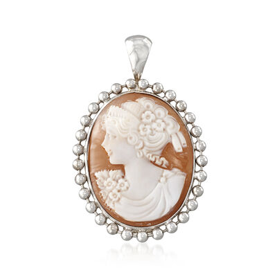 Italian Oval Shell Cameo Pendant in Sterling Silver, , default