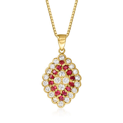 C. 1990 Vintage .72 ct. t.w. Diamond and .45 ct. t.w. Ruby Cluster Pendant Necklace in 18kt Yellow Gold