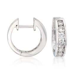 1.00 ct. t.w. Diamond Hoop Earrings in 14kt White Gold, , default