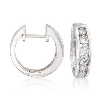 """1.00 ct. t.w. Diamond Hoop Earrings in 14kt White Gold. 1/2"""", , default"""