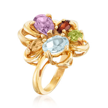 C. 1980 Vintage 2.40 ct. t.w. Multi-Gem Ring in 14kt Yellow Gold. Size 5, , default