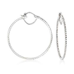 ".75 ct. t.w. Diamond Inside-Outside Hoop Earrings in 14kt White Gold. 1 5/8"", , default"
