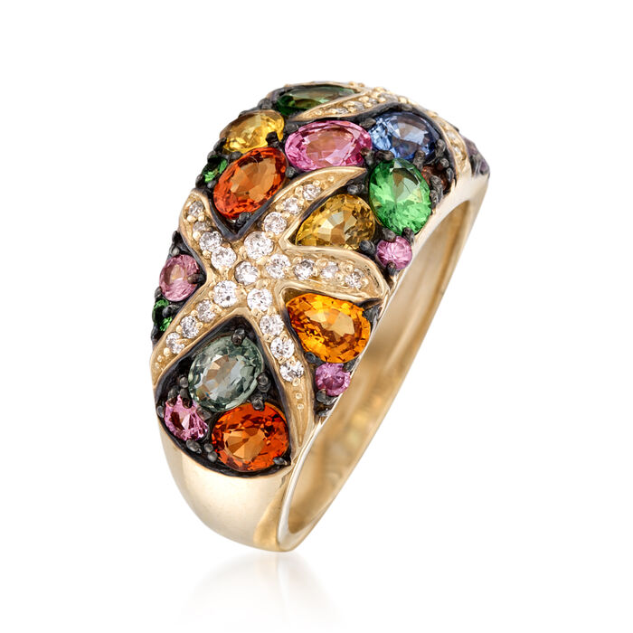 3.50 ct. t.w. Multicolored Sapphire and .24 ct. t.w. Diamond Starfish Ring in 14kt Gold