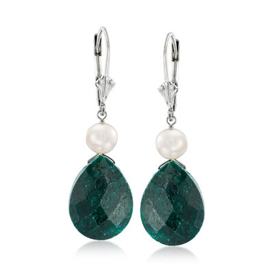 16.00 ct. t.w. Emerald and Cultured Pearl Drop Earrings in Sterling Silver, , default