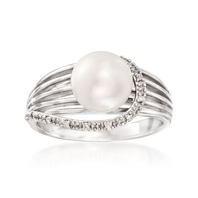 Cultured Pearl Multi-Row Ring With Diamond Accents in 14kt White Gold, , default