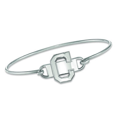 """Sterling Silver MLB Cleveland Indians Small Center Wire Bangle Bracelet. 7"""""""