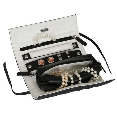 """Mele & Co. """"Whitley"""" Black Faux Leather Travel Jewelry Roll, , default"""