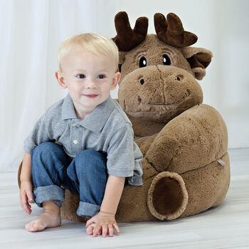 Children's Plush Moose Chair, , default