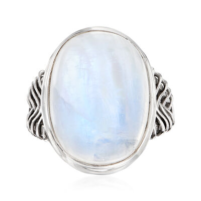 Moonstone Basketweave Ring in Sterling Silver