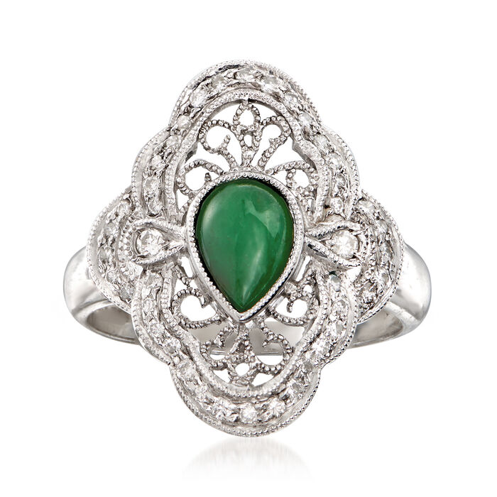 C. 1980 Vintage Jade and .33 ct. t.w. Diamond Ring in 18kt White Gold. Size 6.5