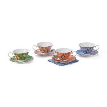 """Belleek Pottery """"Cottage Garden"""" Bone China Teacup and Saucer Set, , default"""