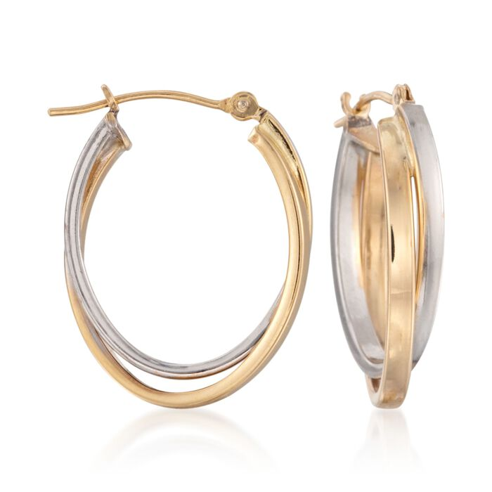 14kt Two-Tone Gold Oval Double Hoop Earrings. 7/8""